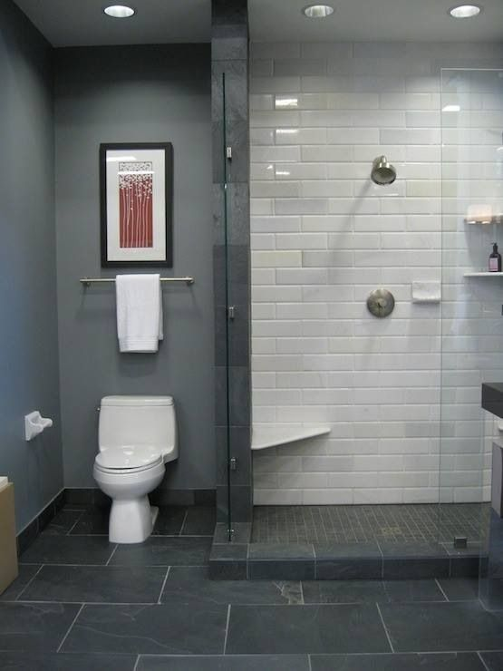 What S The Best Tile Layout For My Bathroom Straight Or Staggered Bathroom Shower Tile Bathrooms Remodel Black Slate Floor