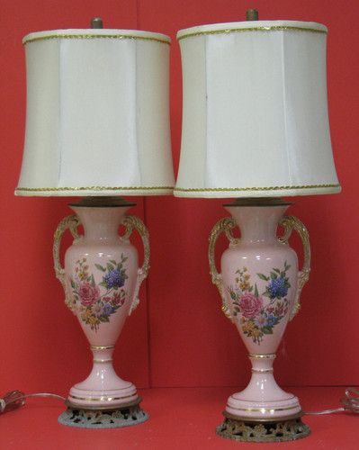 Antique 1930 S Pink Lamps Set Of 2 Hand Painted W Brass Bottoms Shades Ebay Pink Lamp Lamp Lamp Sets