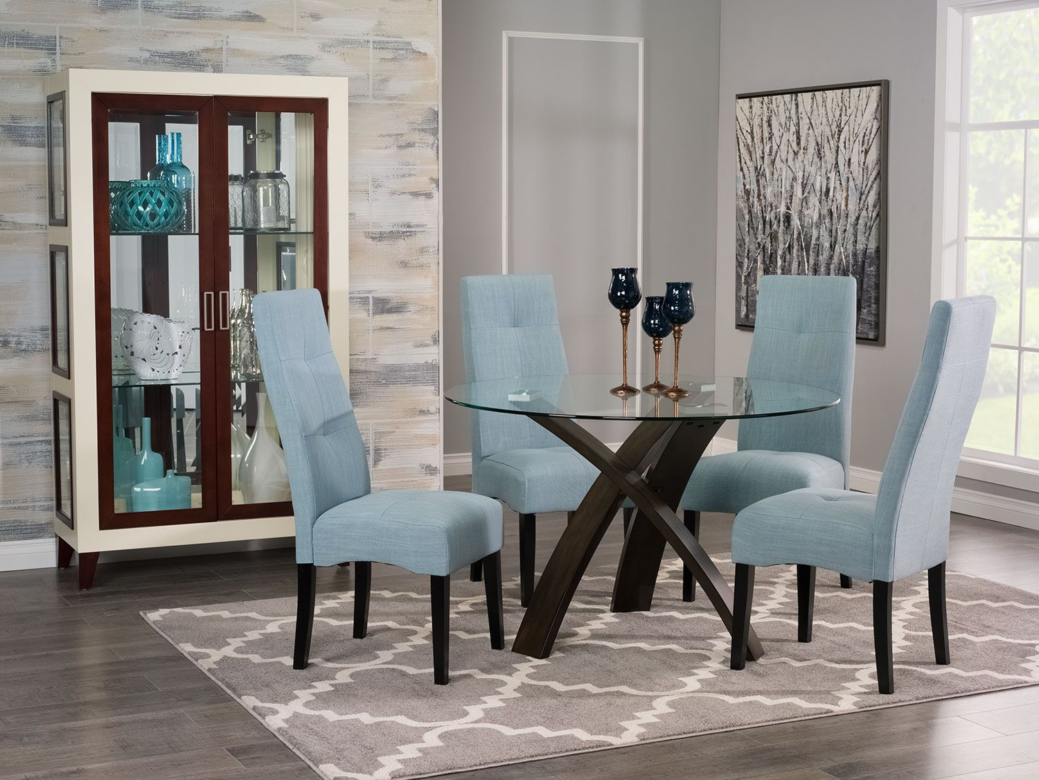 Light blue dining room - Skye 5 Piece Dining Package With Sadie Dining Chairs Light Blue Skye 5 Piece Dining Package