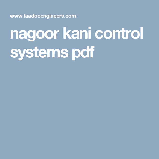 control systems textbook by nagoor kani free download pdf