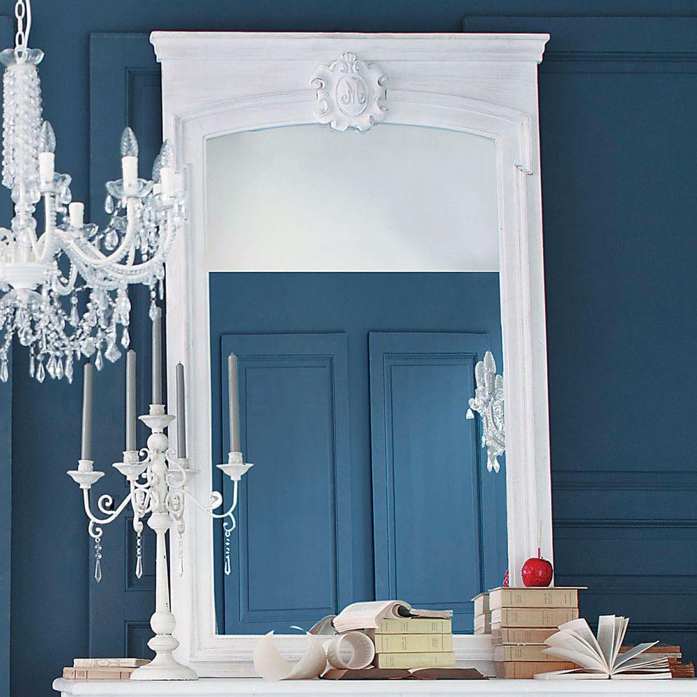 miroir trumeau en sapin blanc h 160 cm miroir dalon. Black Bedroom Furniture Sets. Home Design Ideas
