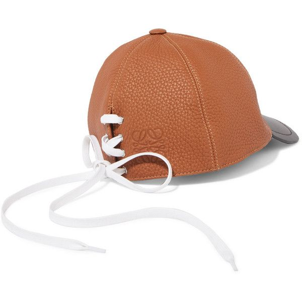 9d968754411 Loewe Lace-up two-tone leather baseball cap (€450) ❤ liked on Polyvore  featuring accessories