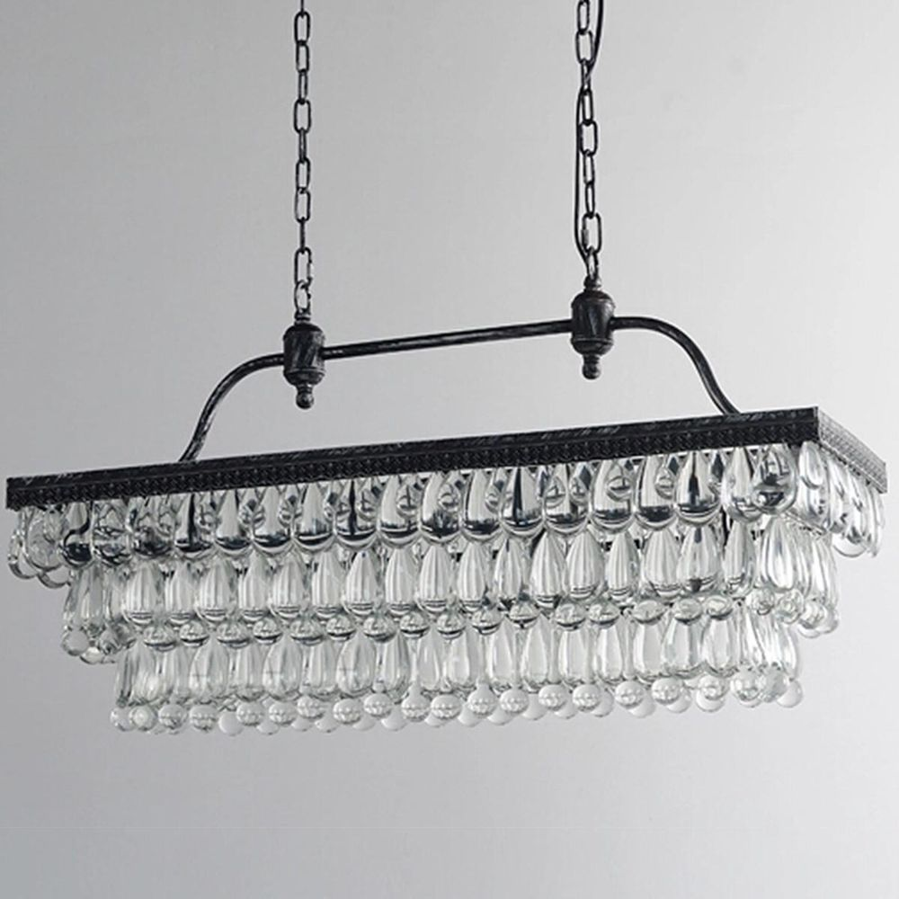 Details about byb antique rectangle crystal pendant lighting ceiling
