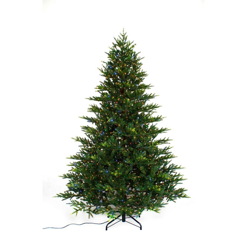 7 5 Ft Pre Lit Led 9 Function Quick Set Artificial Christmas Tree With 2000 Warm White Multi Micro Dot Lig Artificial Christmas Tree Christmas Tree Led Lights