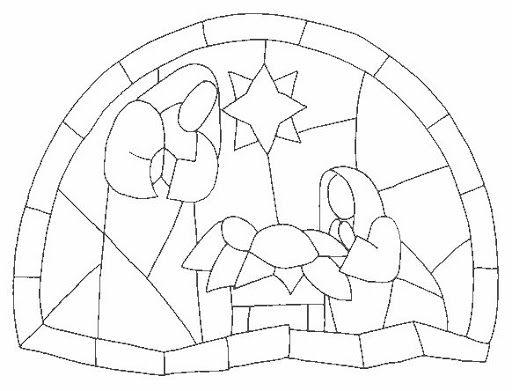 Dibujos para colorear nacimiento de jesus vitrales - Dibujos de nacimientos de navidad ...