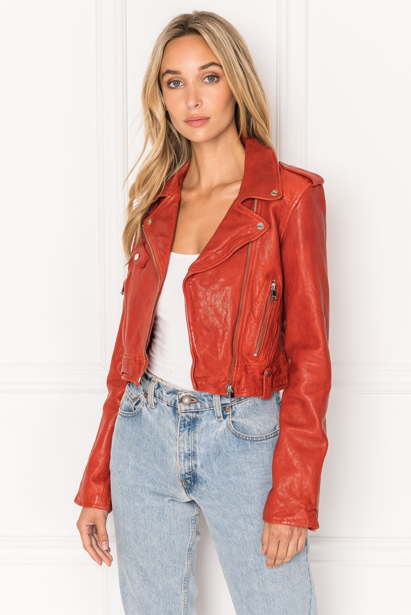 Lamarque Ciara Dark Red Washed Leather Crop Biker Jacket Red Fashion Outfits Cute Clothes For Women Fashion [ 2048 x 1367 Pixel ]