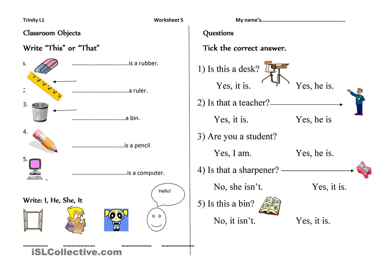 Trinity Level 1   Grammar worksheets printables [ 1018 x 1440 Pixel ]