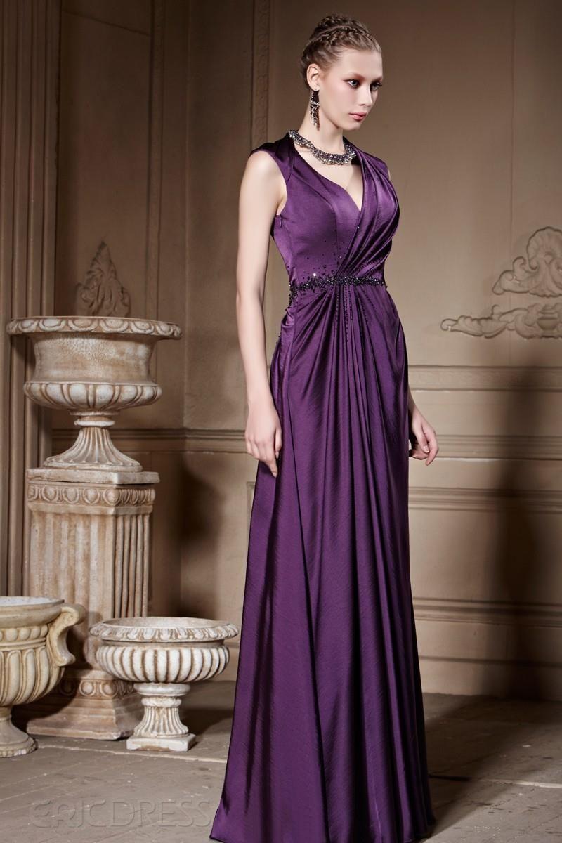Elegant V-Neck Empire Beading Pleats Evening Dress 2