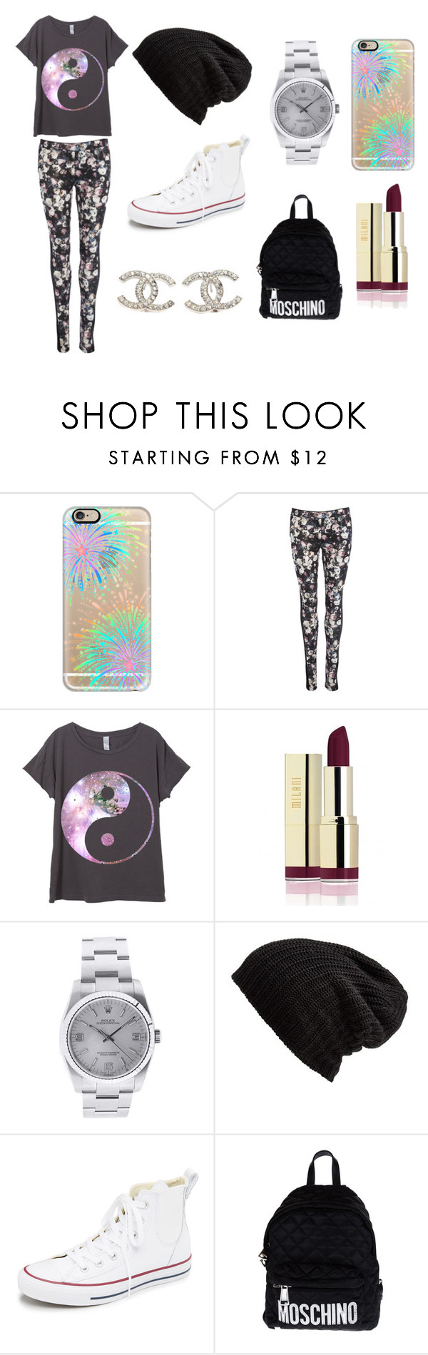 """Colorful and hot"" by mtvlover27 ❤ liked on Polyvore featuring Casetify, Rolex, Free People, Converse, Moschino, Chanel and chic"
