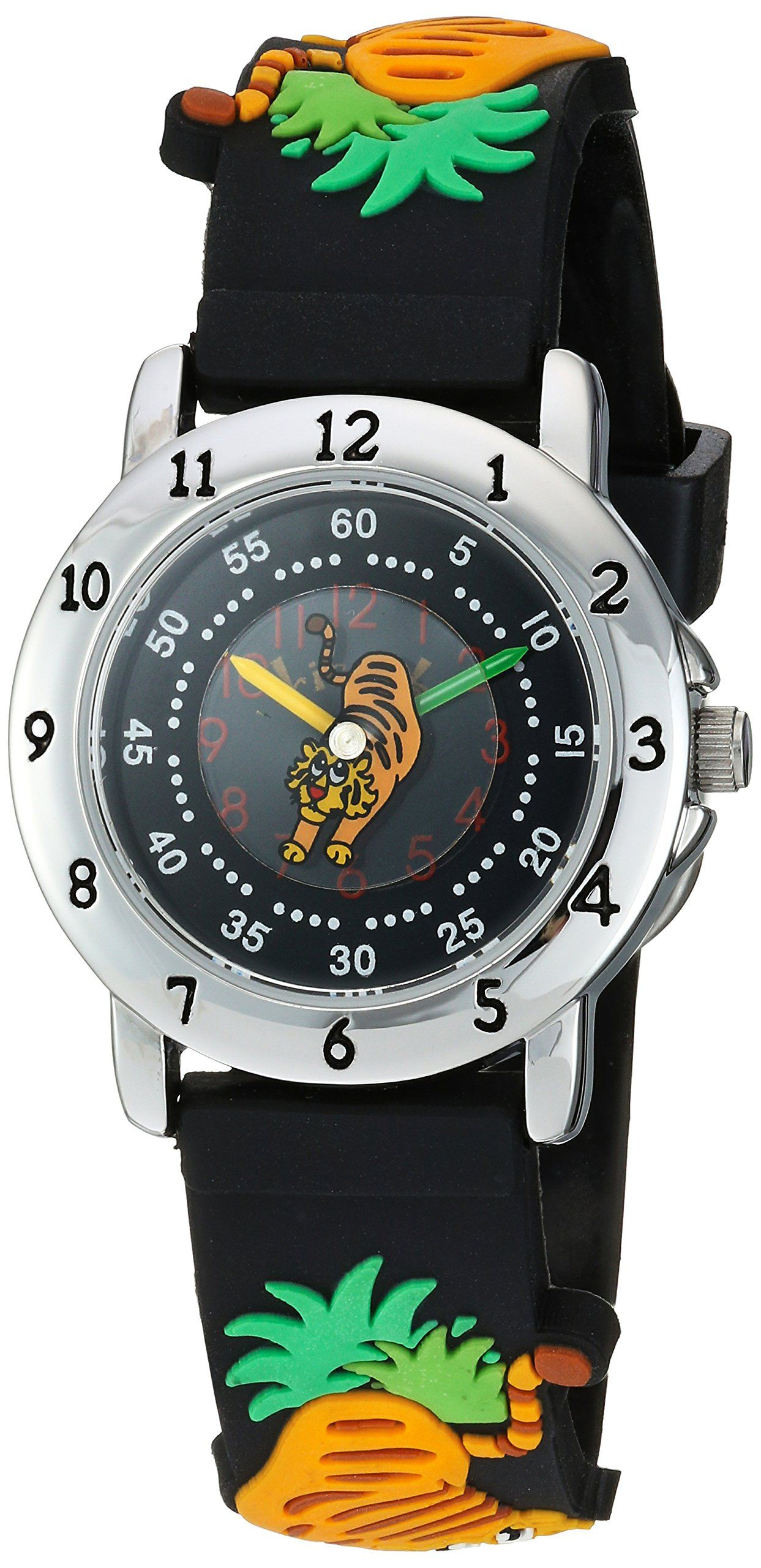 ricci b Quartz Stainless Steel and Plastic Watch, Color:Black (Model: 210). Jungle tigers. Unisex kids watch. Fun to wear kids watch. Time teacher. Fits most kids and many adults.