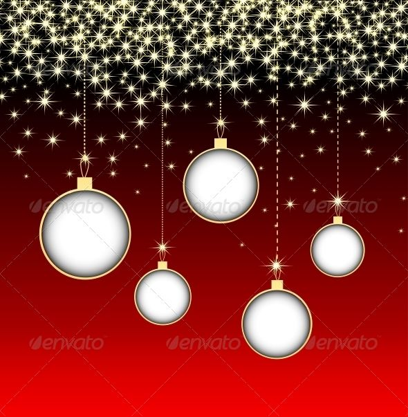 Christmas Ball on Red Background with Snowflakes Seasons