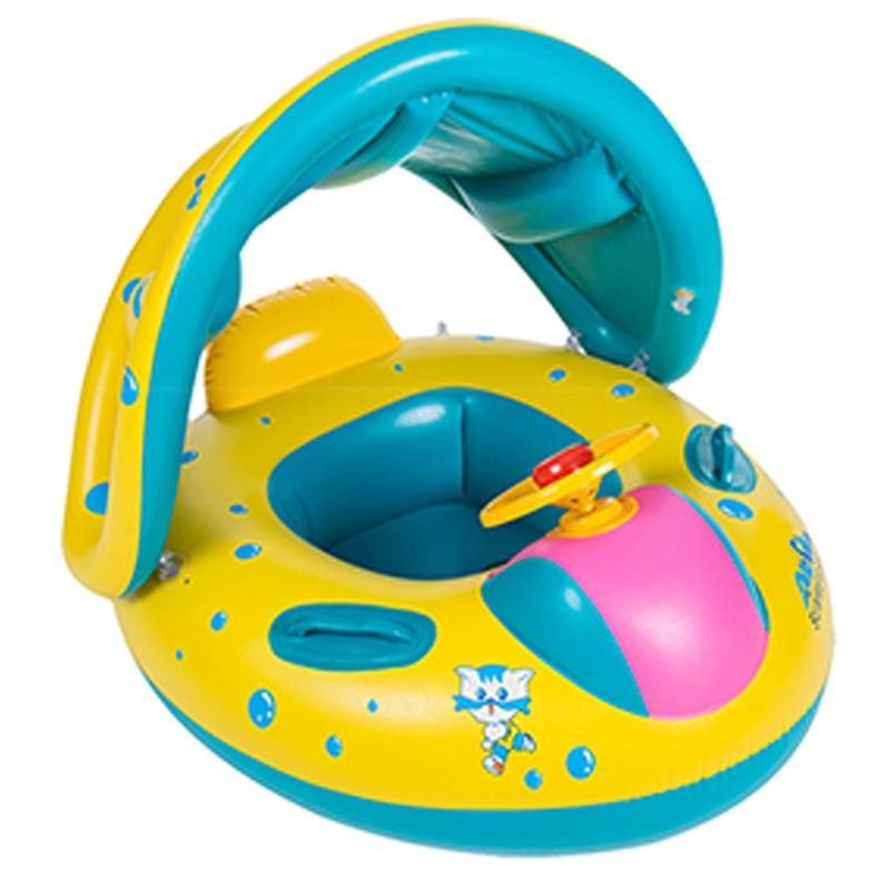Baby inflatable swimming ring with adjustable sun shade