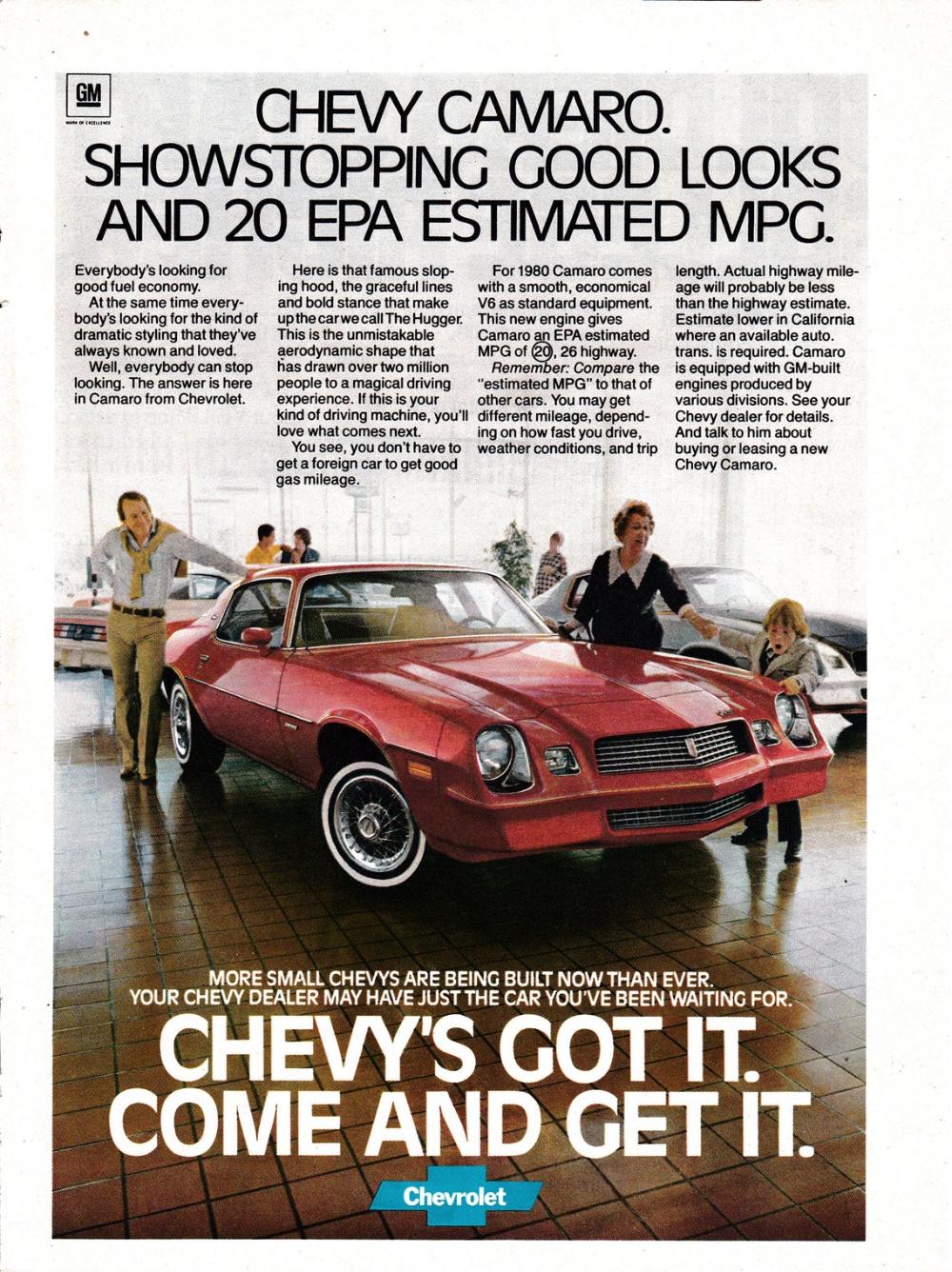 1980 Chevrolet Camaro Red 2 Door Showstopping Good Looks Original Magazine Ad