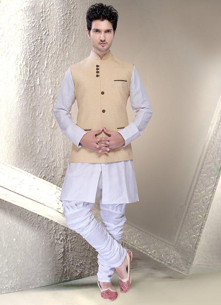 Men Wedding Party Wear Slim Fit Brand New Cotton Nehru Jacket Waist Coat