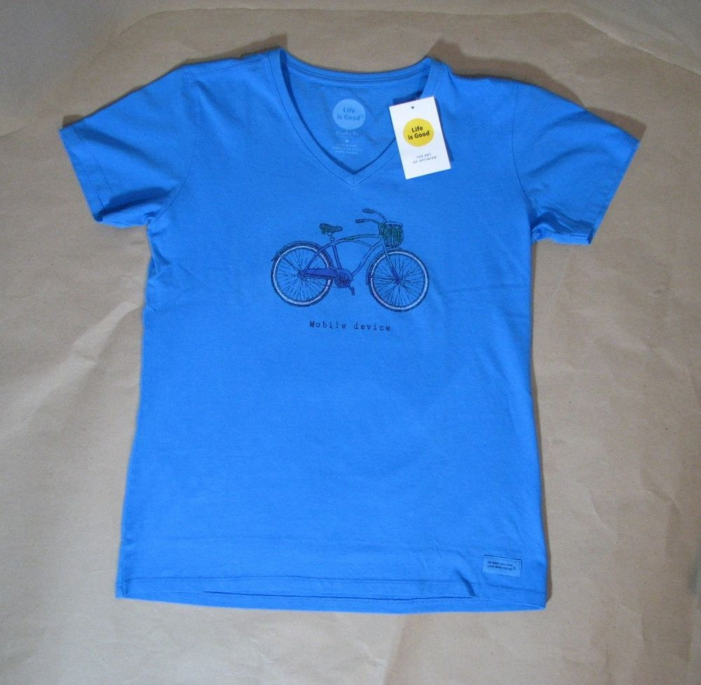 Life is Good Blue Shirt Top Women Mobile Device Bicycle Bike
