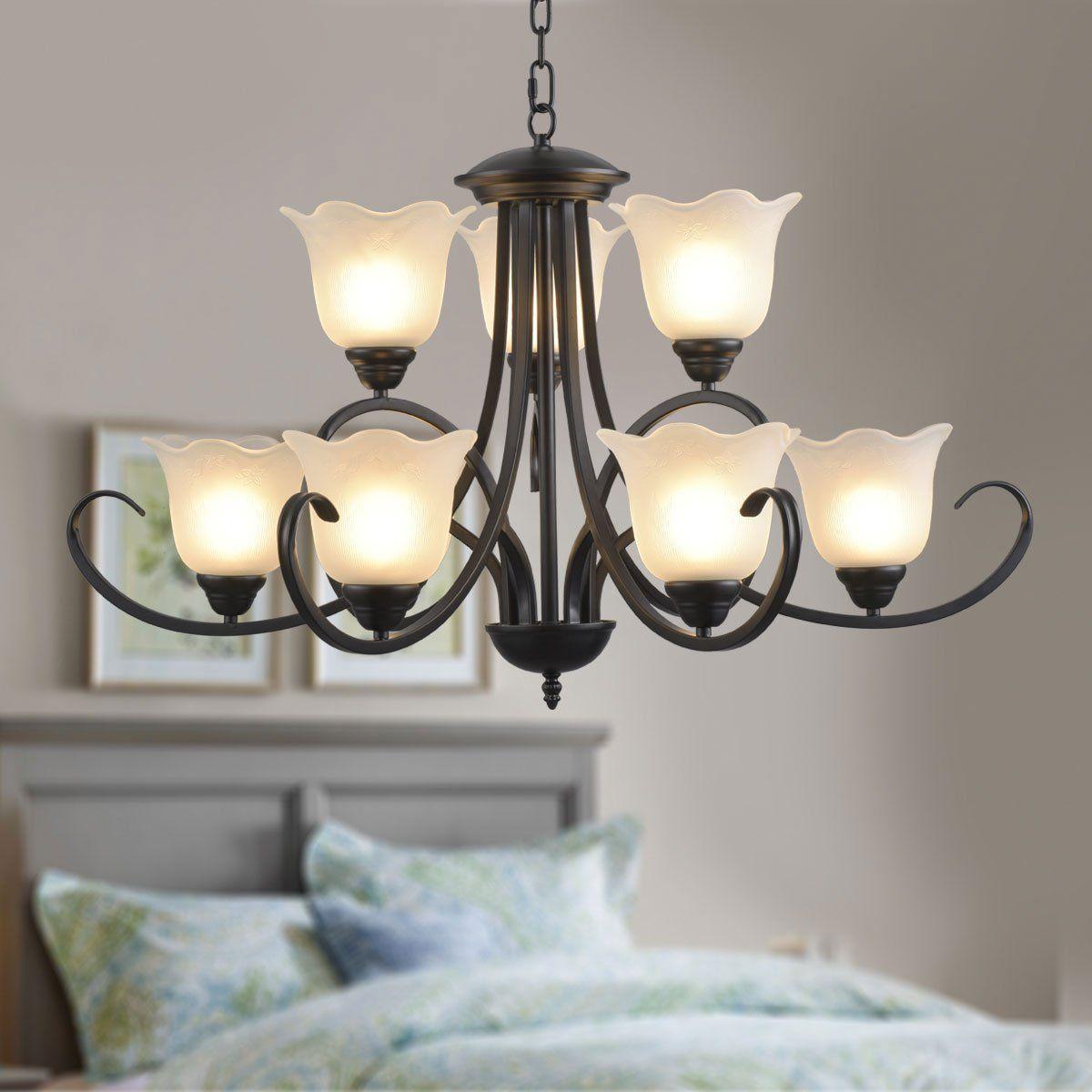 9 Light Black Wrought Iron Chandelier With Glass Shades E 8019 6