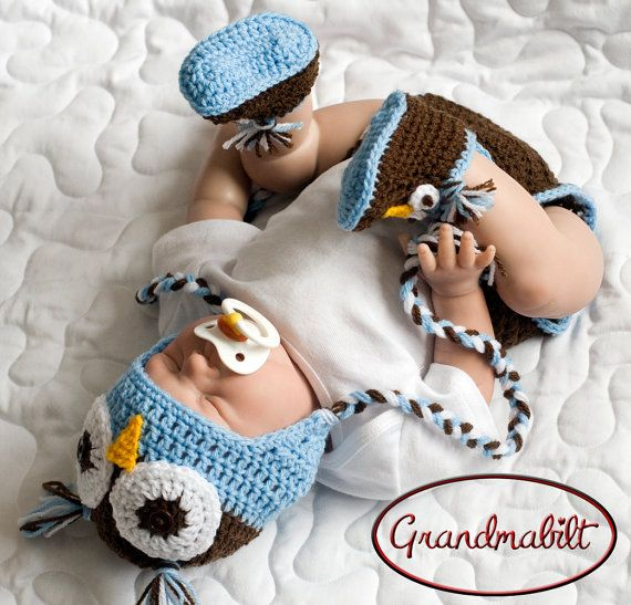 Newborn Baby Boys Crocheted Blue and Brown OWL Hat by Grandmabilt ...
