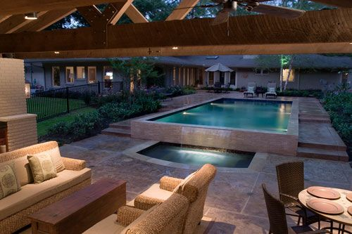 Back Yard Swimming Pool And Outdoor Kitchen As An Outdoor Kitchen