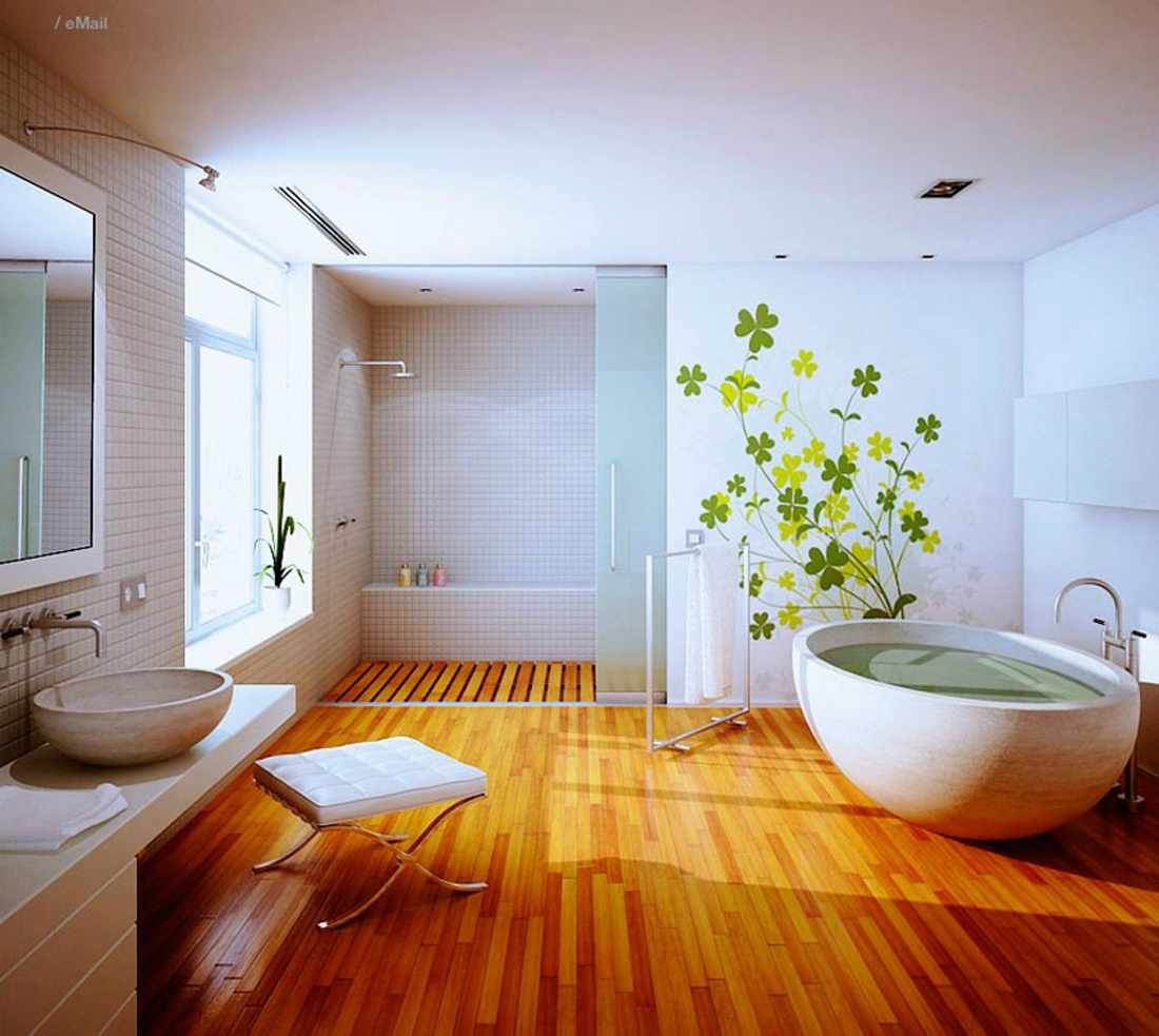 Large Bathroom Flooring Ideas with Natural Wood Material - see shower floor