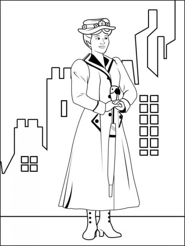 Mary Poppins coloring page   Mary Poppins in 2019   Mary Poppins ...