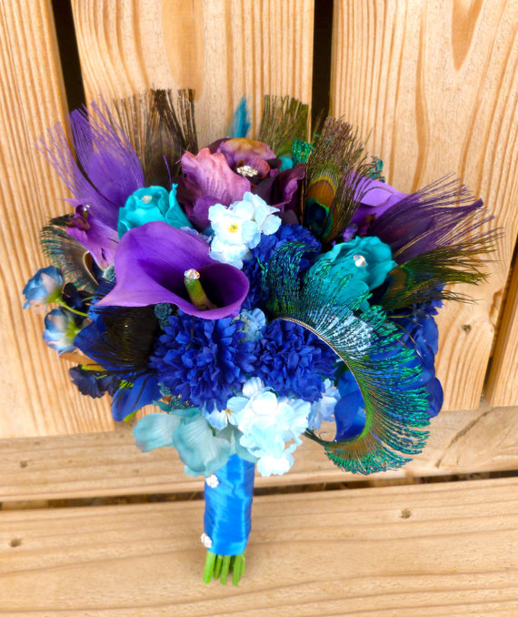 Purple Blue Bridal Bouquet With Teal Rhinestone Pea Feather Accent
