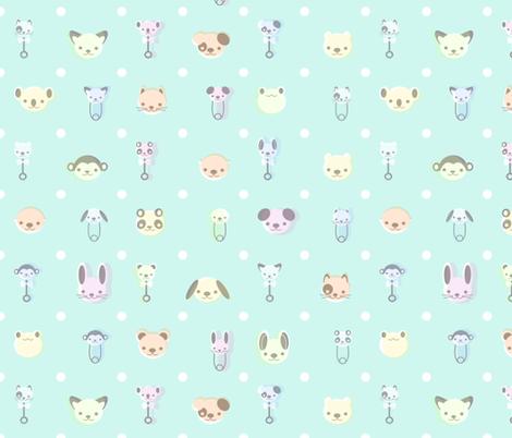 Vintage Baby Animal - Mint fabric by saecarr on Spoonflower - custom fabric