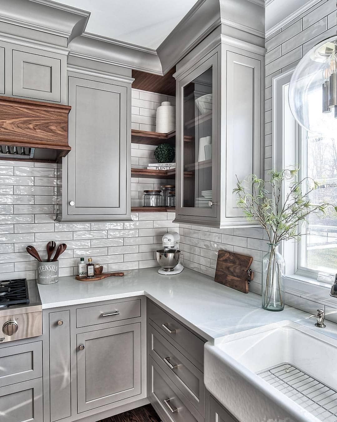We Love These Grey Cabinets What Do You Think We Think The Dark Wood Accents Are A Beautiful Tou Kitchen Cabinet Design Grey Kitchen Designs Home Kitchens