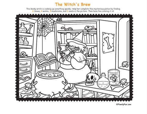 Hidden Picture & Coloring Page: Witch\'s Brew (Printable Activity for ...