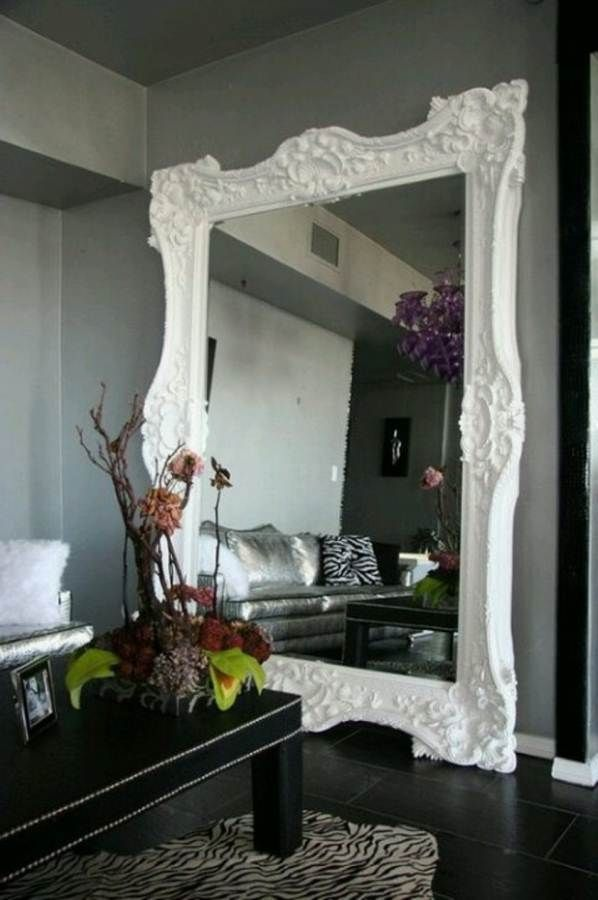 Alluring Wall Mirrors For Living Room Decoration Fancy White Frame False Flower With Stylish I