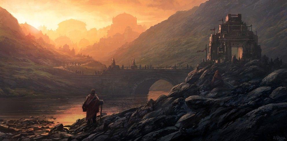 Really Nice Atmospheric Perspective Fantasy Landscape Concept Art World Fantasy Art Landscapes