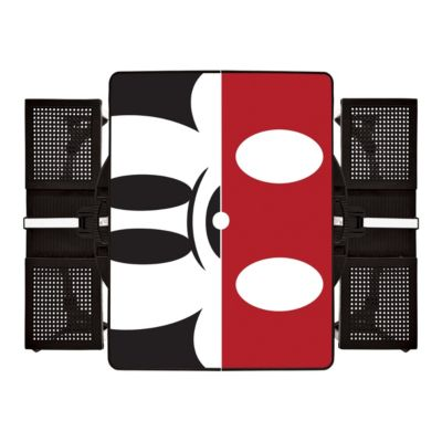 Black Disney Classics Mickey Mouse Portable Folding Picnic Table with Seating for 4