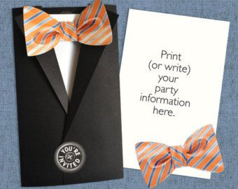 Bow Ties are Cool! Sticky Bowtie Jacket Invitations - Set of 8