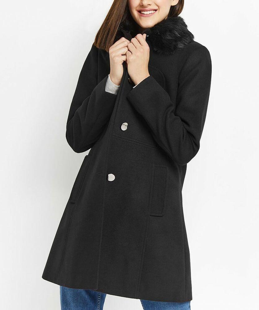 b015e093256d Details about Oasis Black Olivia Fur Collar Slim Jacket Pea Swing ...