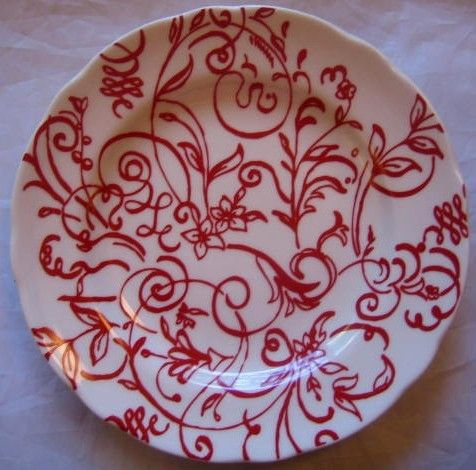 Decorative Dishes - Red on White Line Scroll Leaf Flower Plate $19.99 ( & Red on White Line Scroll Leaf Flower Plate | Leaves Red kitchen and ...