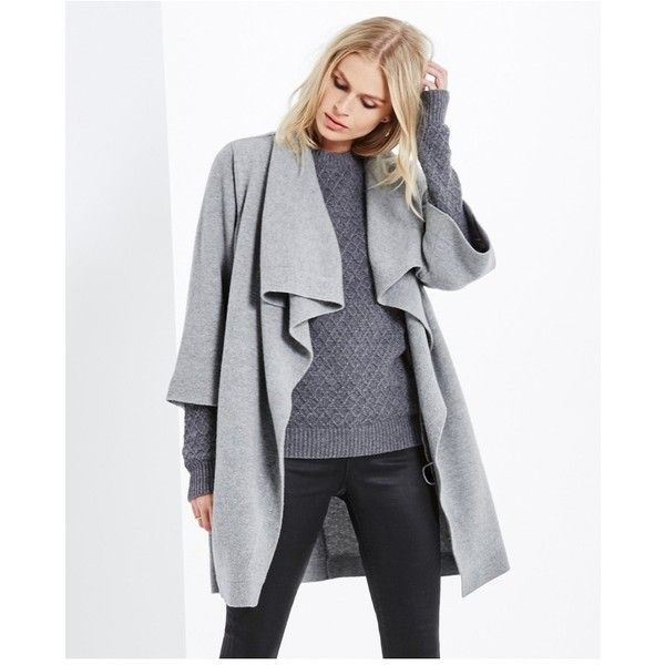 AG The Rio Sweater Jacket  Medium Heather Grey ($239) ❤ liked on Polyvore featuring tops, sweaters, cardigans, grey, knitwear, loose fitting tops, grey sweaters, draped tops, knitwear sweater and loose sweaters