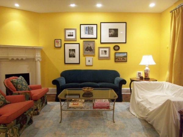 wohnzimmer modern gestalten - gelbe wandfarbe - Wohnzimmer streichen ...