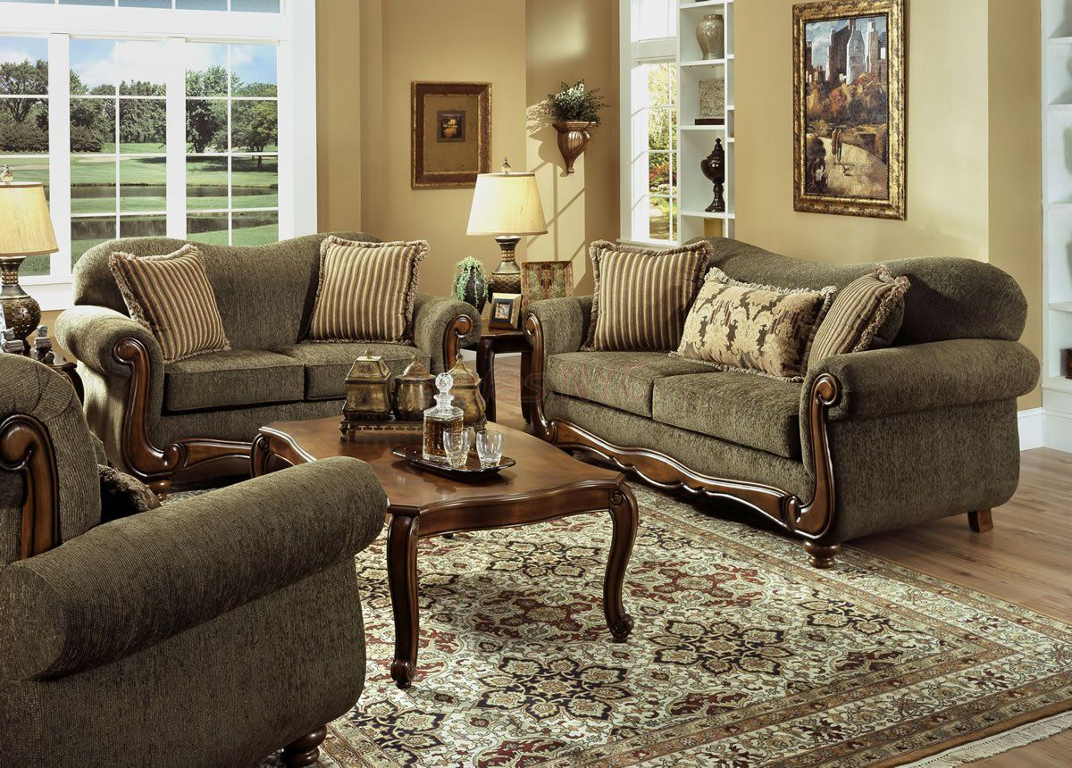 appealing traditional fabric sofas living room furniture | Pine Fabric Traditional Sofa and Loveseat Set w/Rolled ...