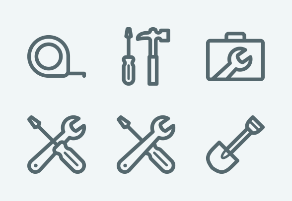 Elasto Hand Tools Flat Outline Icons By Altop Media 192027023