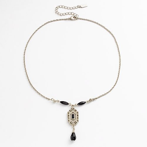 1928 Silver Tone Simulated Marcasite Bead Y Necklace Necklace Beaded Necklace Silver Tone