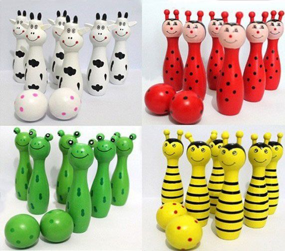 Cute Wooden Animal Style Bowling Toy Bowling Balls Game Baby Intellectual Toys Children