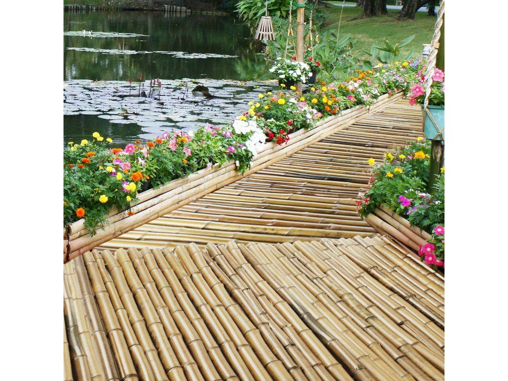 Bambus Sichtschutzzaun Natur 3 Größen volle