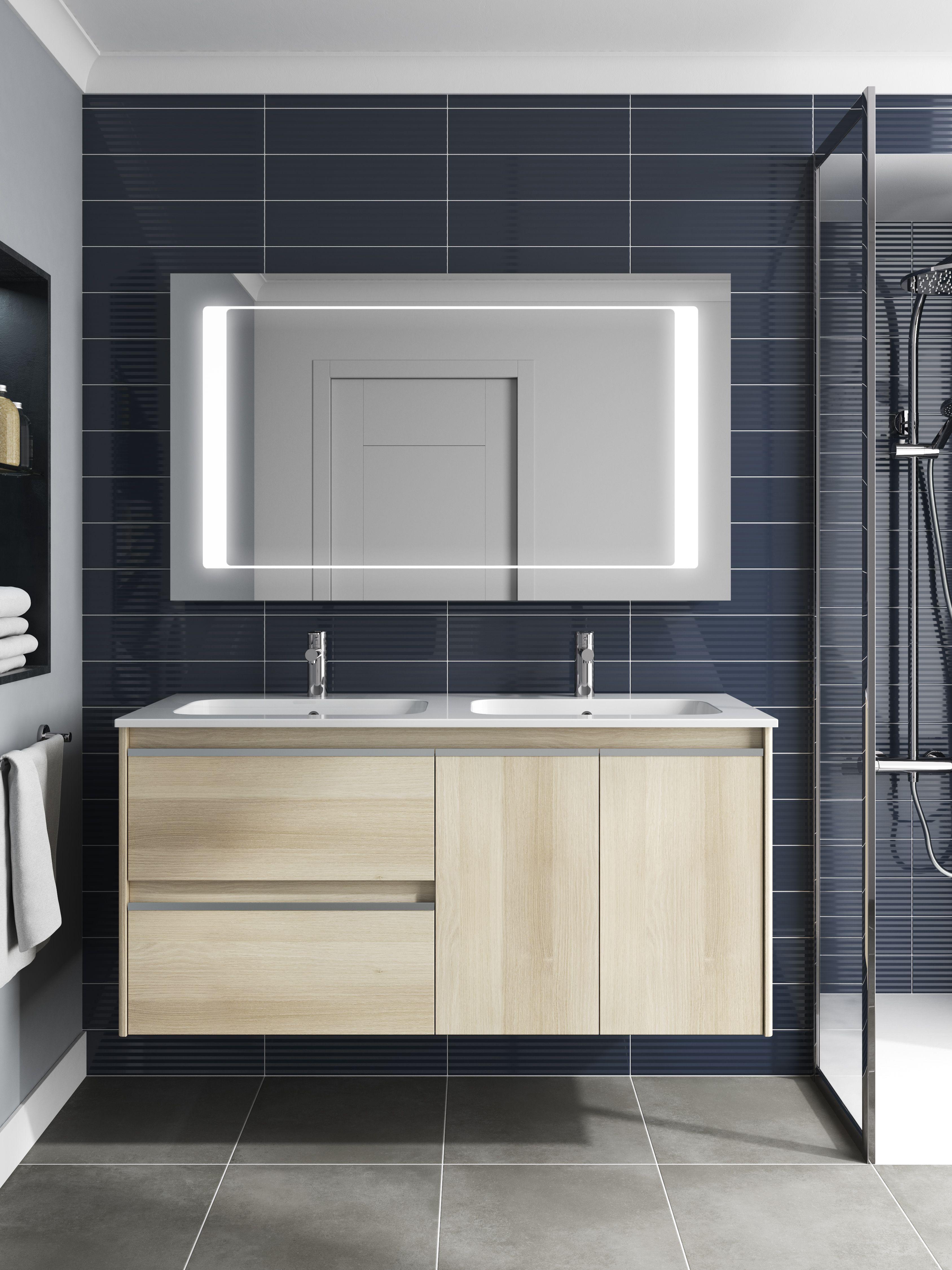 meuble avec vasque coloris ch ne nordic et miroir led une exclusivit by royo d cou. Black Bedroom Furniture Sets. Home Design Ideas
