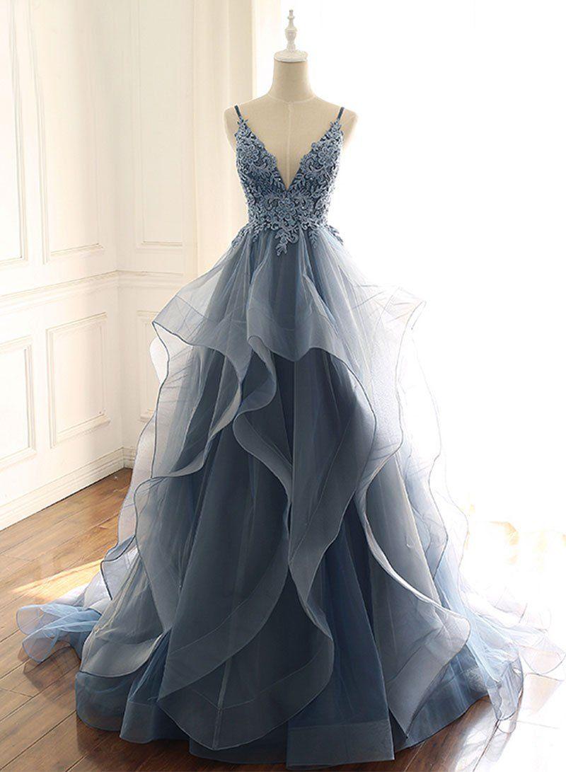 Blue V-Neck Tulle Lace Prom Dress,Spaghetti Strap