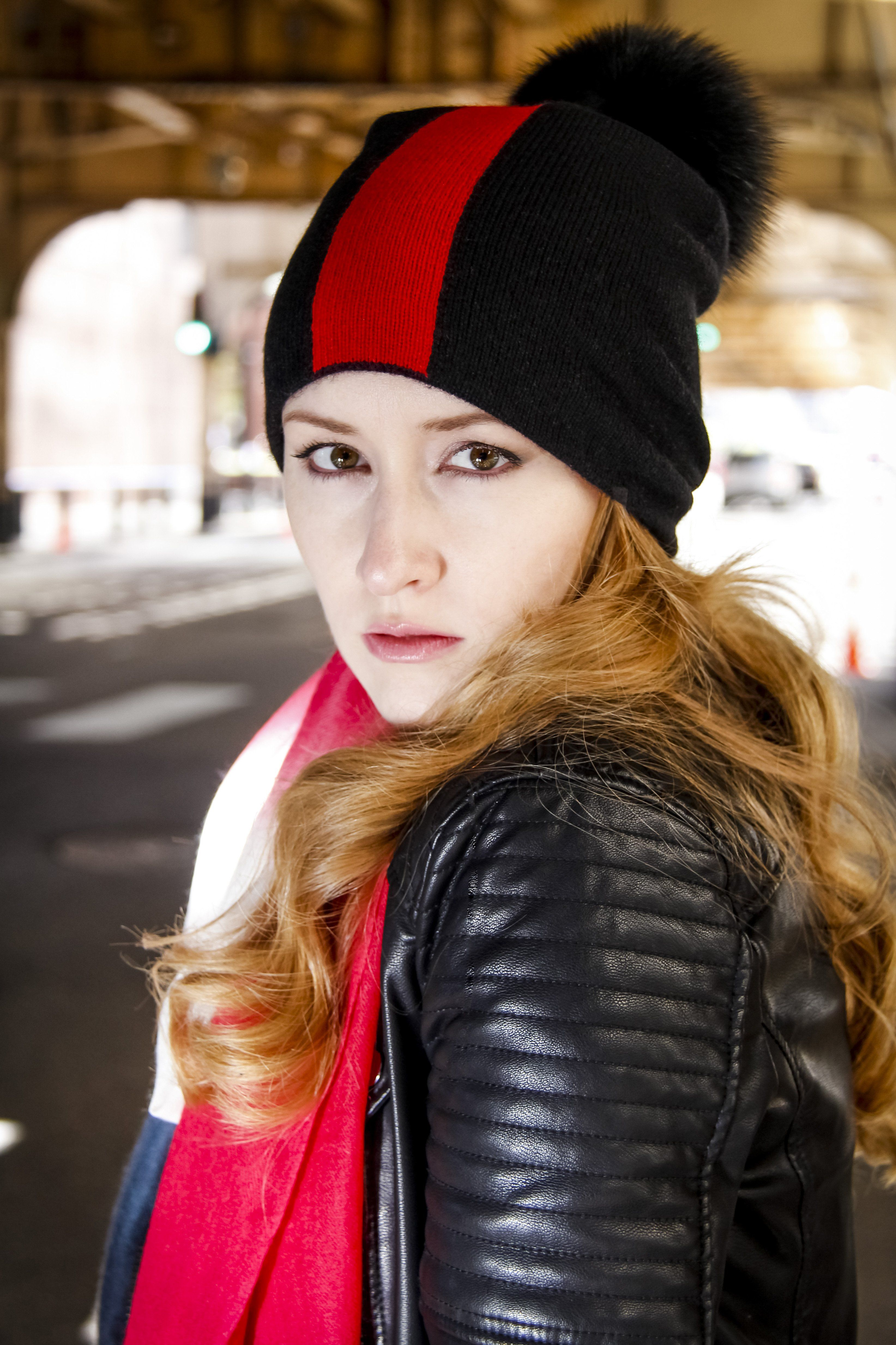 Reversible Slouchy Black and Red Striped Cashmere Hat with Black Pom ... 11d88cfd816a