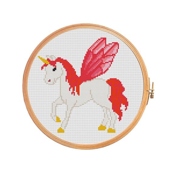 Fabulous unicorn with wings and golden by PatternsCrossStitch