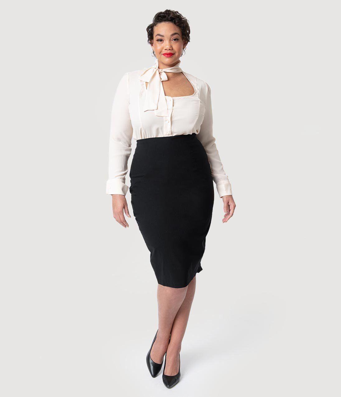 f02b06f02659d Plus Size 1940s Black Stretch Peplum Boulevard Pencil Skirt in 2019 ...