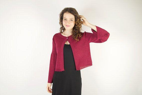 Vintage Jacket Marsala Jacket Jersey Womens Jacket Bordeaux Red Cardigan Wine Red Evening Knitwear Size Medium