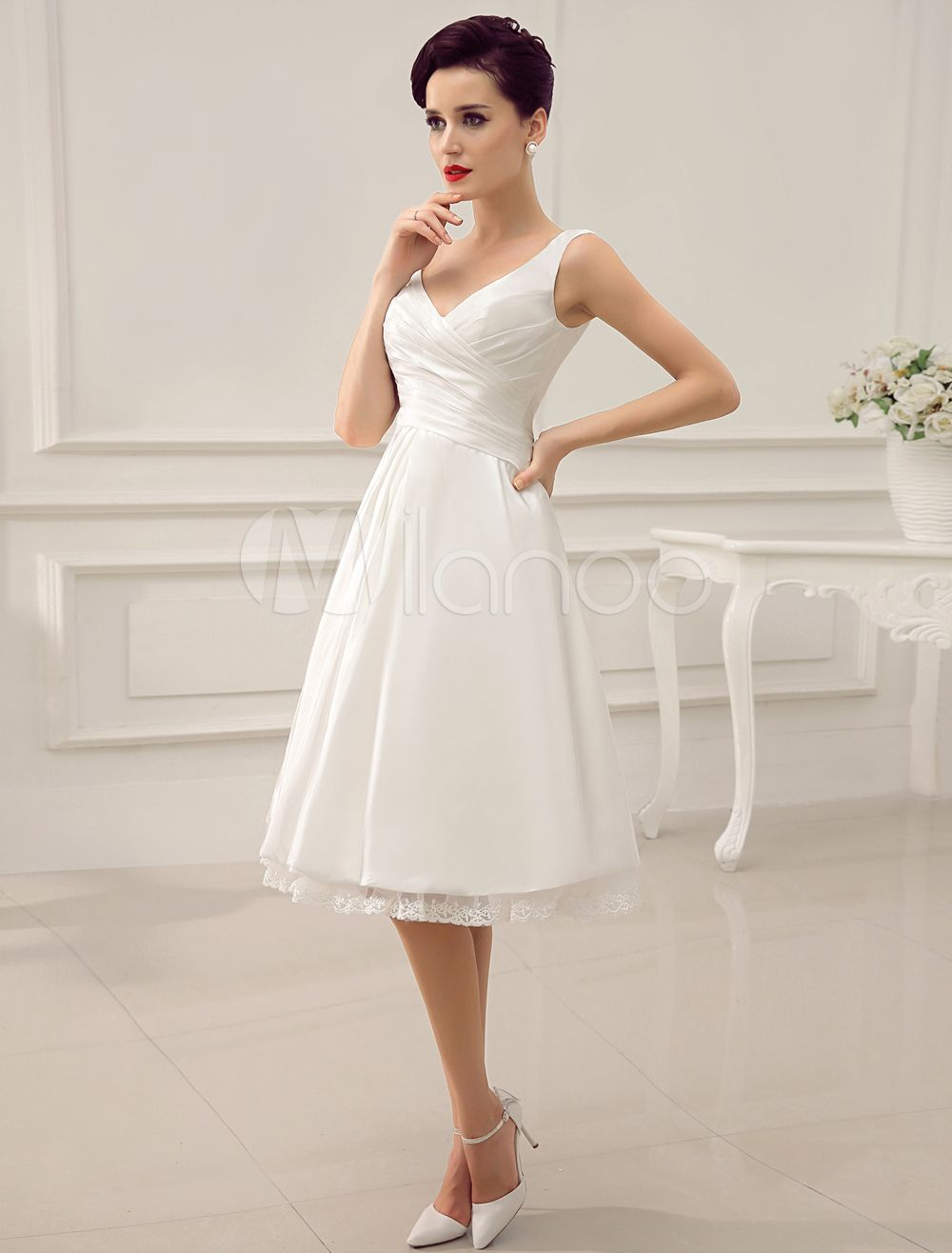 Simple Wedding Dresses Ivory Wedding Dress Knee Length Backless Straps Lace Bridal Dress Ivory Wedding Dress Knee Length Wedding Dress Civil Wedding Dresses [ 1316 x 1000 Pixel ]