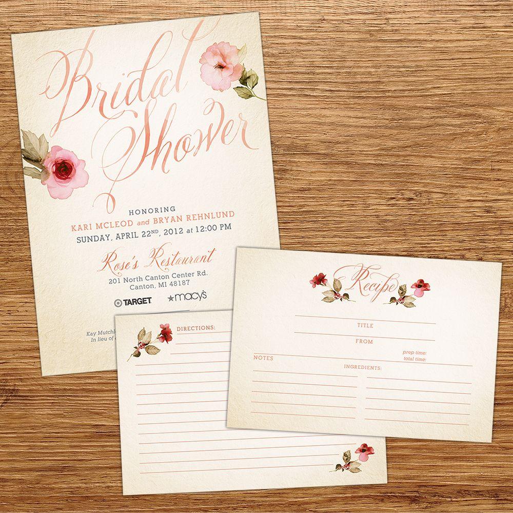 Recipe Card Wedding Invitation