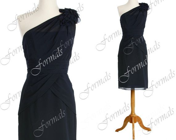 One Shoulder with Flowers Knee Length Short Chiffon by Formals, $95.00